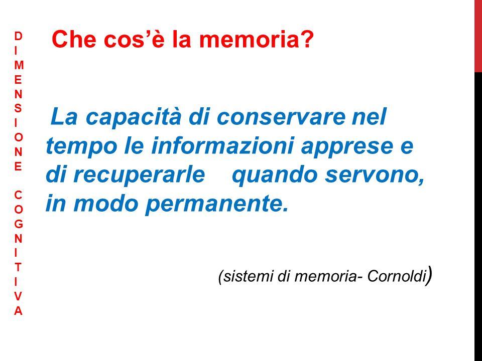 (sistemi di memoria- Cornoldi)
