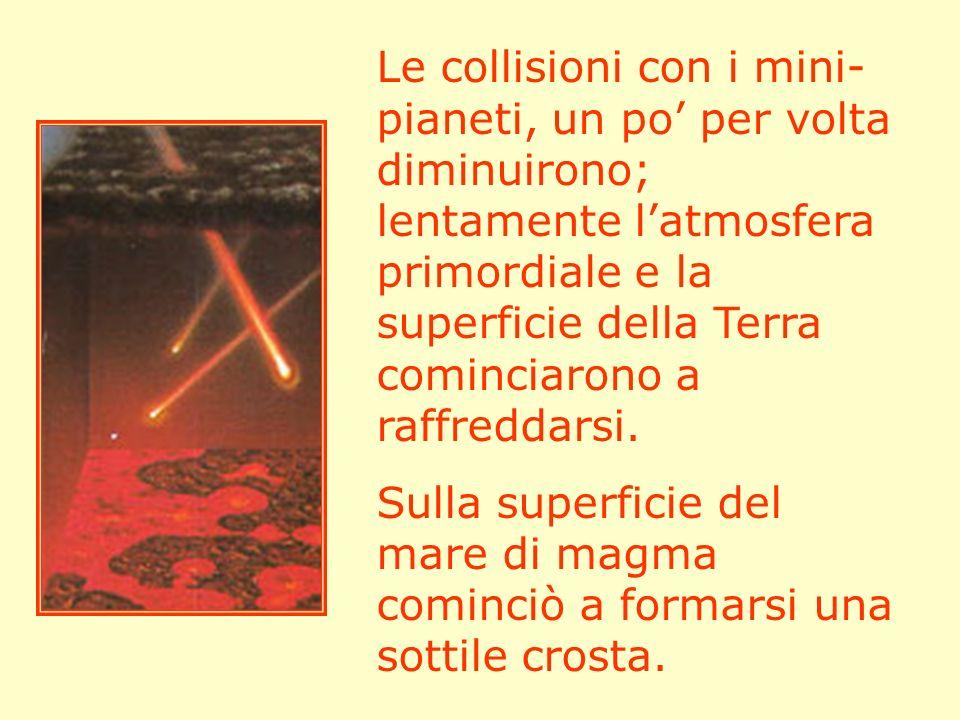 Le collisioni con i mini-pianeti, un po' per volta diminuirono; lentamente l'atmosfera primordiale e la superficie della Terra cominciarono a raffreddarsi.