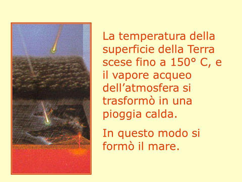 La temperatura della superficie della Terra scese fino a 150° C, e il vapore acqueo dell'atmosfera si trasformò in una pioggia calda.