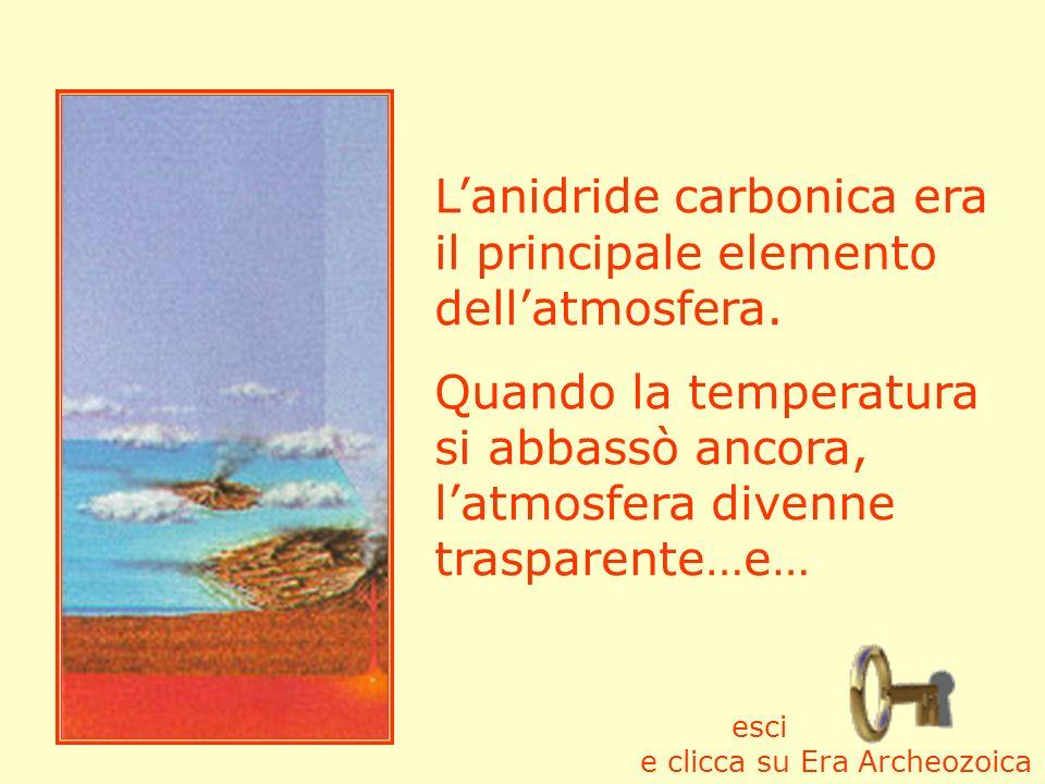 L'anidride carbonica era il principale elemento dell'atmosfera.