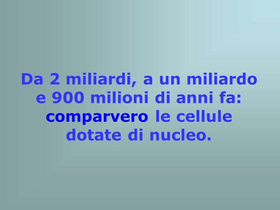 Da 2 miliardi, a un miliardo e 900 milioni di anni fa: comparvero le cellule dotate di nucleo.