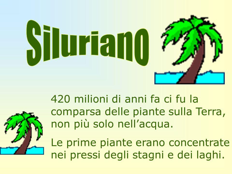 Siluriano420 milioni di anni fa ci fu la comparsa delle piante sulla Terra, non più solo nell'acqua.