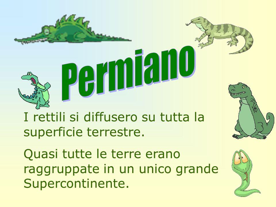 Permiano I rettili si diffusero su tutta la superficie terrestre.