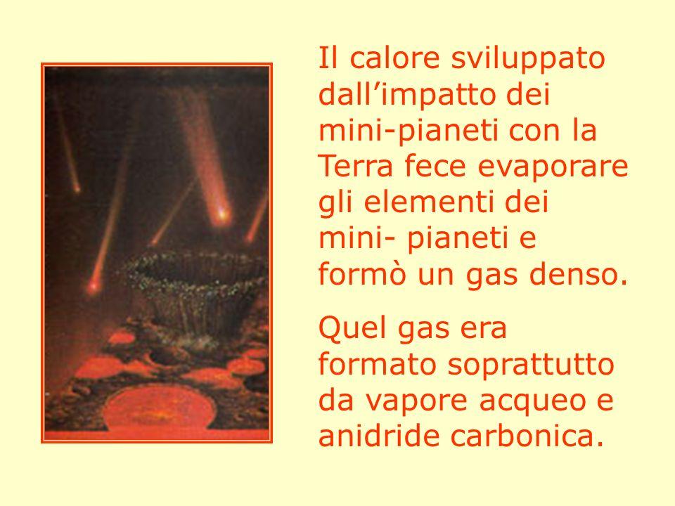 Il calore sviluppato dall'impatto dei mini-pianeti con la Terra fece evaporare gli elementi dei mini- pianeti e formò un gas denso.