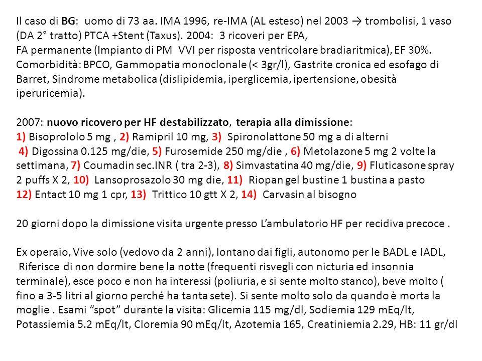 Il caso di BG: uomo di 73 aa. IMA 1996, re-IMA (AL esteso) nel 2003 → trombolisi, 1 vaso (DA 2° tratto) PTCA +Stent (Taxus). 2004: 3 ricoveri per EPA,