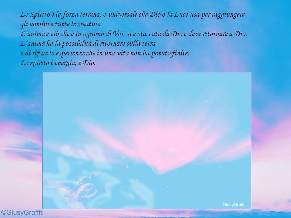 Lo Spirito è la forza terrena, o universale che Dio o la Luce usa per raggiungere