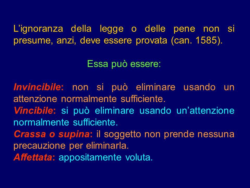 L'ignoranza della legge o delle pene non si presume, anzi, deve essere provata (can. 1585).