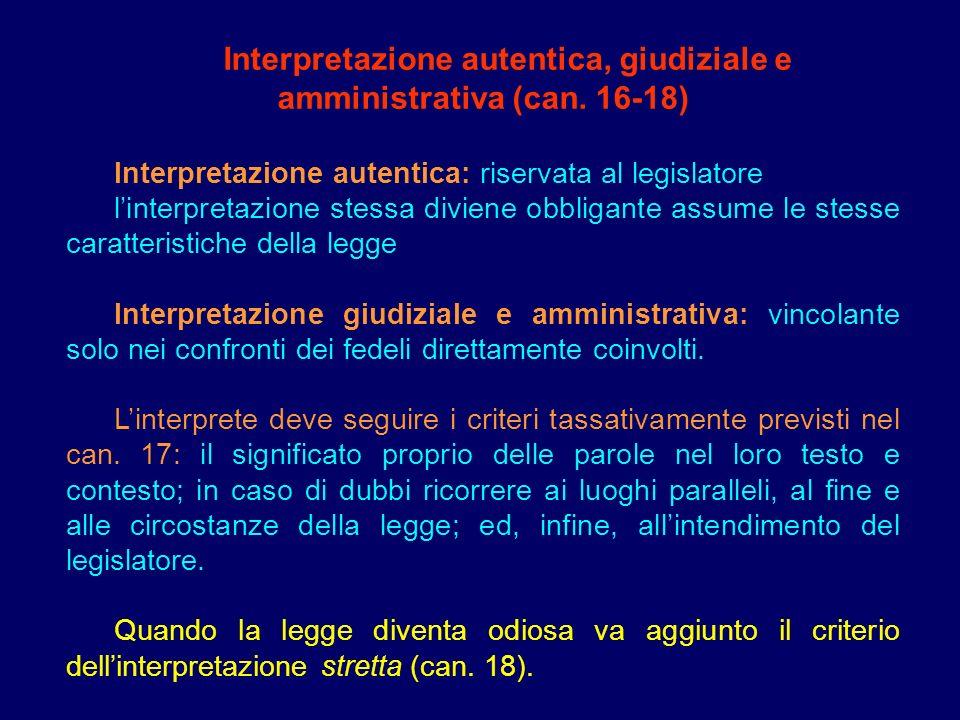 Interpretazione autentica, giudiziale e amministrativa (can. 16-18)