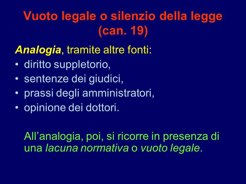 Vuoto legale o silenzio della legge (can. 19)