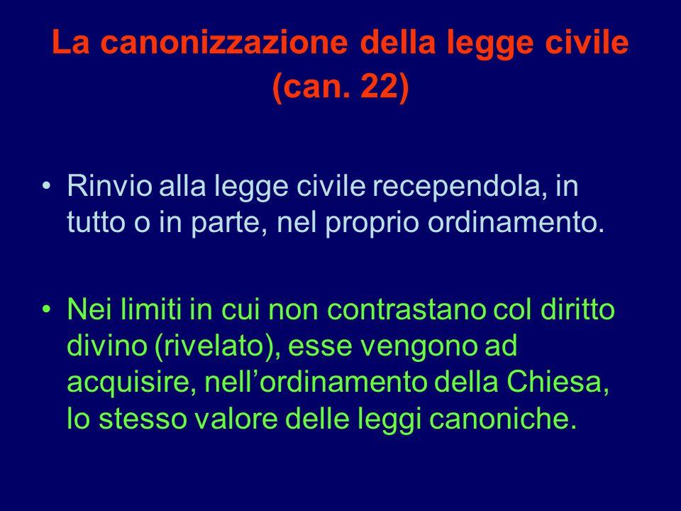 La canonizzazione della legge civile (can. 22)