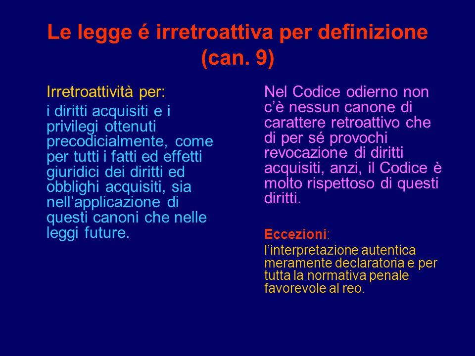 Le legge é irretroattiva per definizione (can. 9)