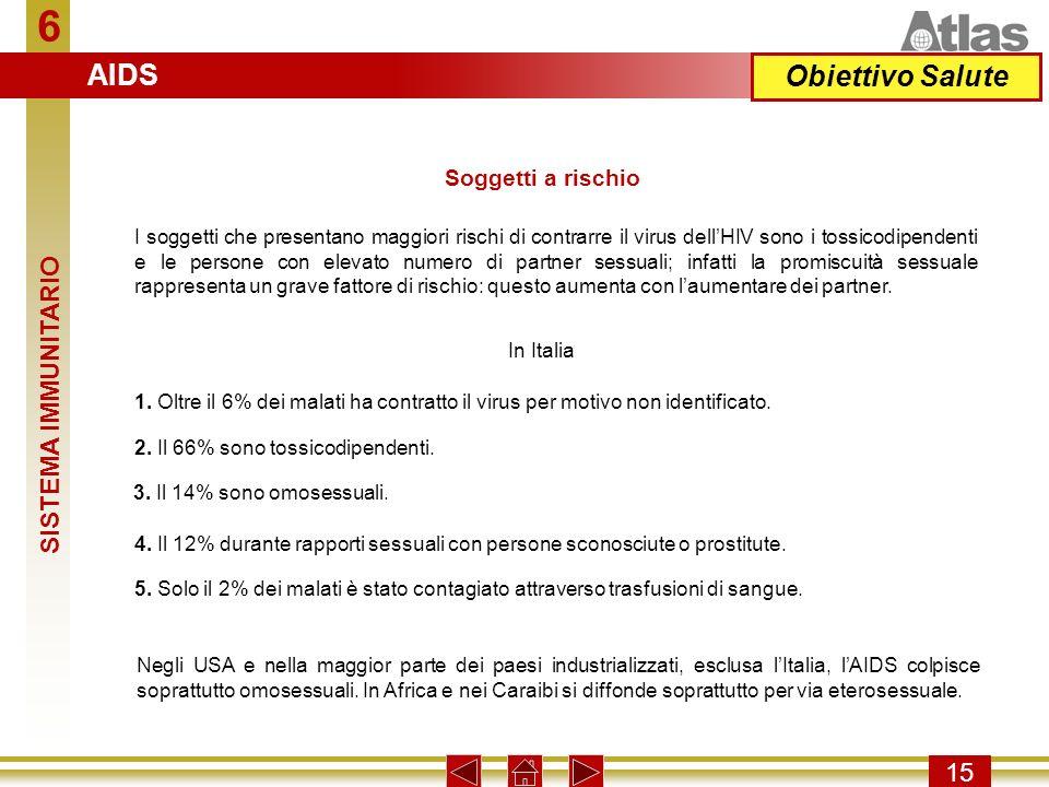 6 AIDS Obiettivo Salute SISTEMA IMMUNITARIO 15 Soggetti a rischio