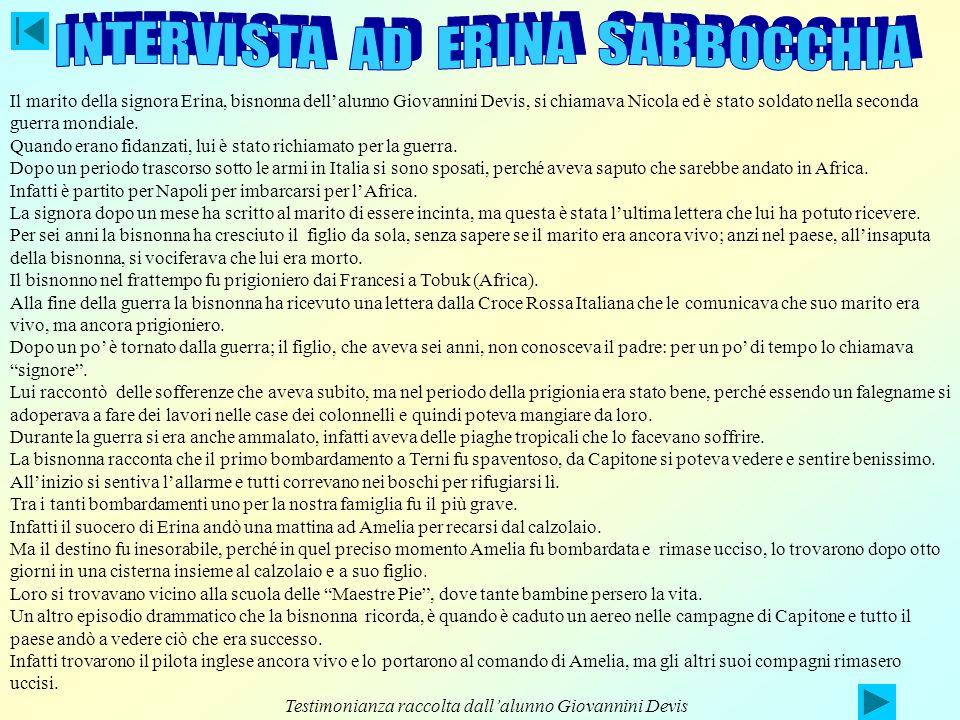 INTERVISTA AD ERINA SABBOCCHIA