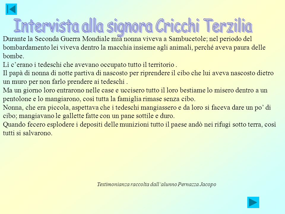 Intervista alla signora Cricchi Terzilia