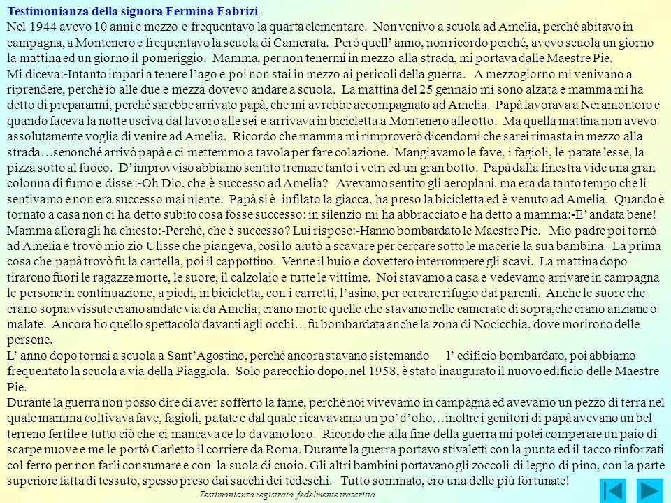 Testimonianza della signora Fermina Fabrizi