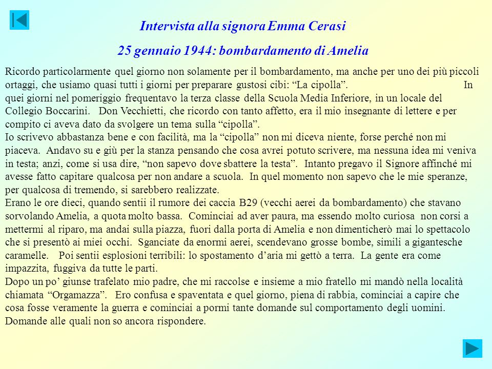 Intervista alla signora Emma Cerasi