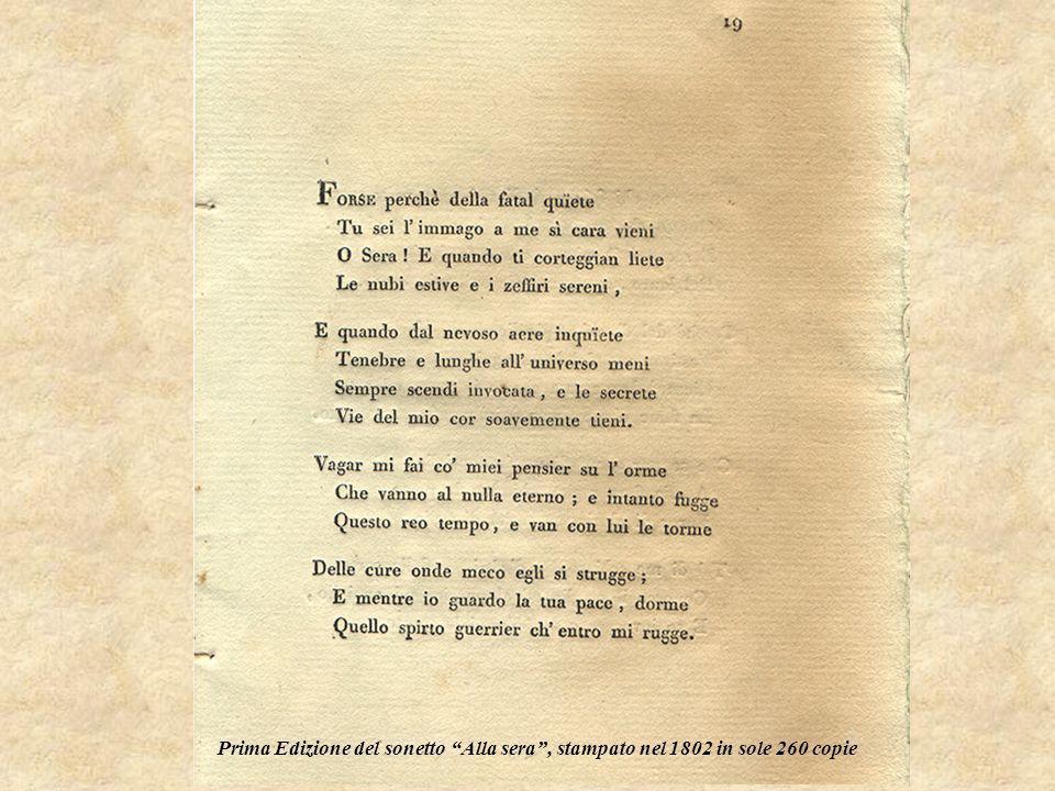 Prima Edizione del sonetto Alla sera , stampato nel 1802 in sole 260 copie