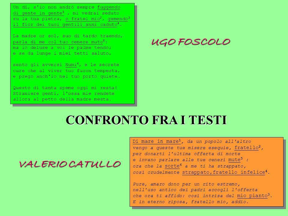 CONFRONTO FRA I TESTI UGO FOSCOLO VALERIO CATULLO