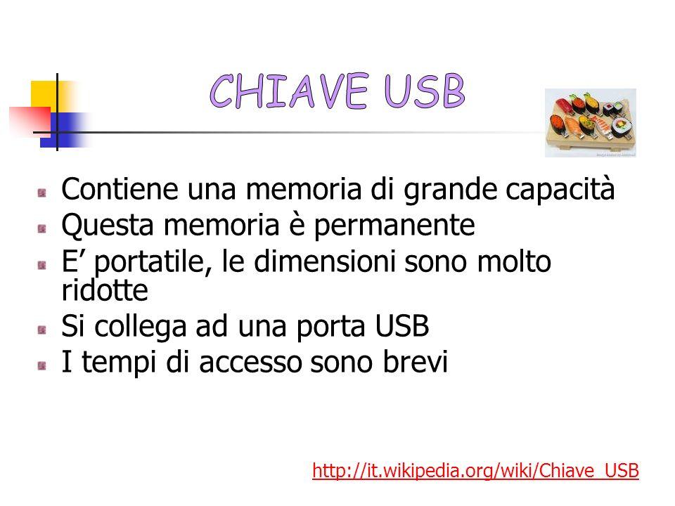 CHIAVE USB Contiene una memoria di grande capacità