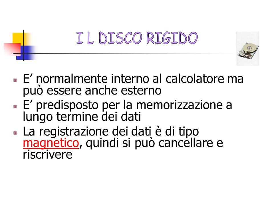 I L DISCO RIGIDO E' normalmente interno al calcolatore ma può essere anche esterno. E' predisposto per la memorizzazione a lungo termine dei dati.