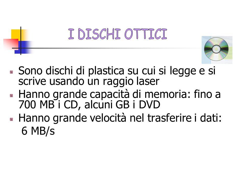 I DISCHI OTTICI Sono dischi di plastica su cui si legge e si scrive usando un raggio laser.