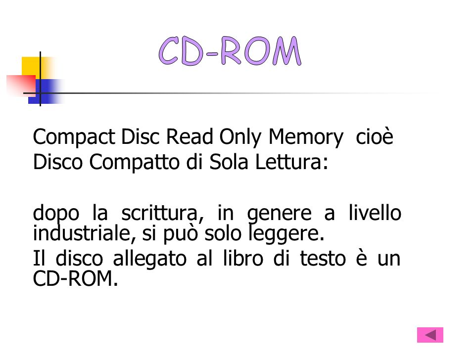 CD-ROM Compact Disc Read Only Memory cioè. Disco Compatto di Sola Lettura: