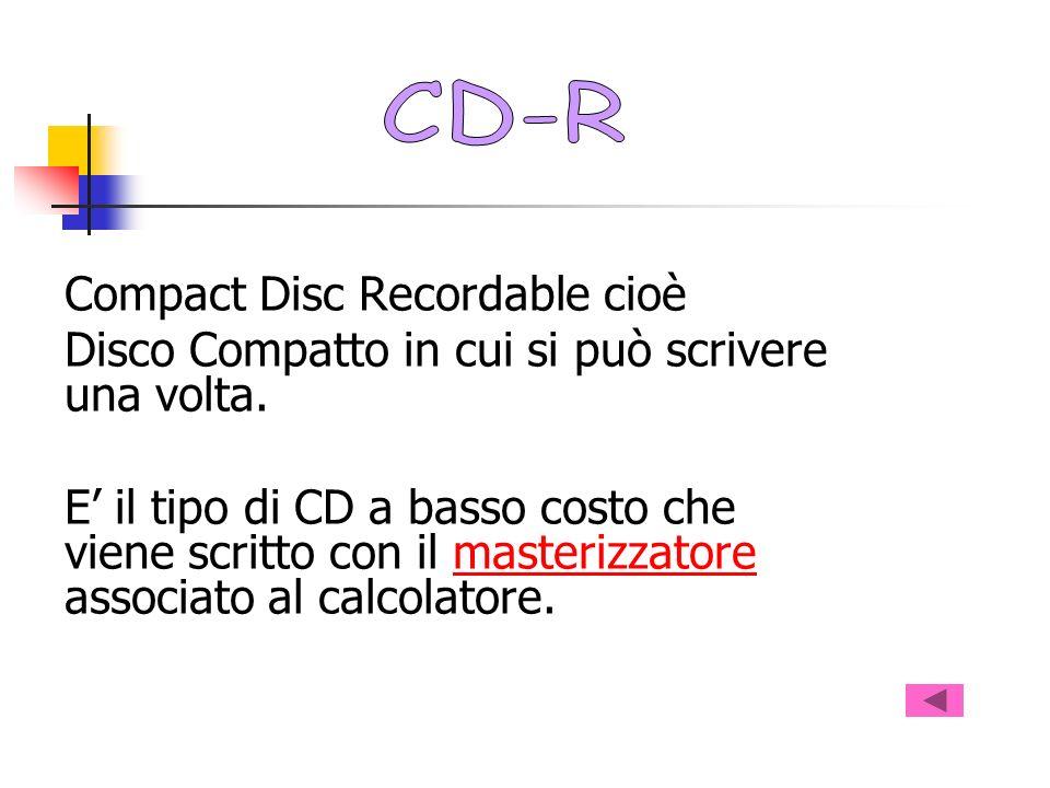 CD-R Compact Disc Recordable cioè. Disco Compatto in cui si può scrivere una volta.