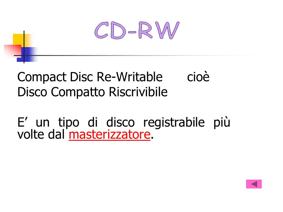 CD-RW Compact Disc Re-Writable cioè. Disco Compatto Riscrivibile.