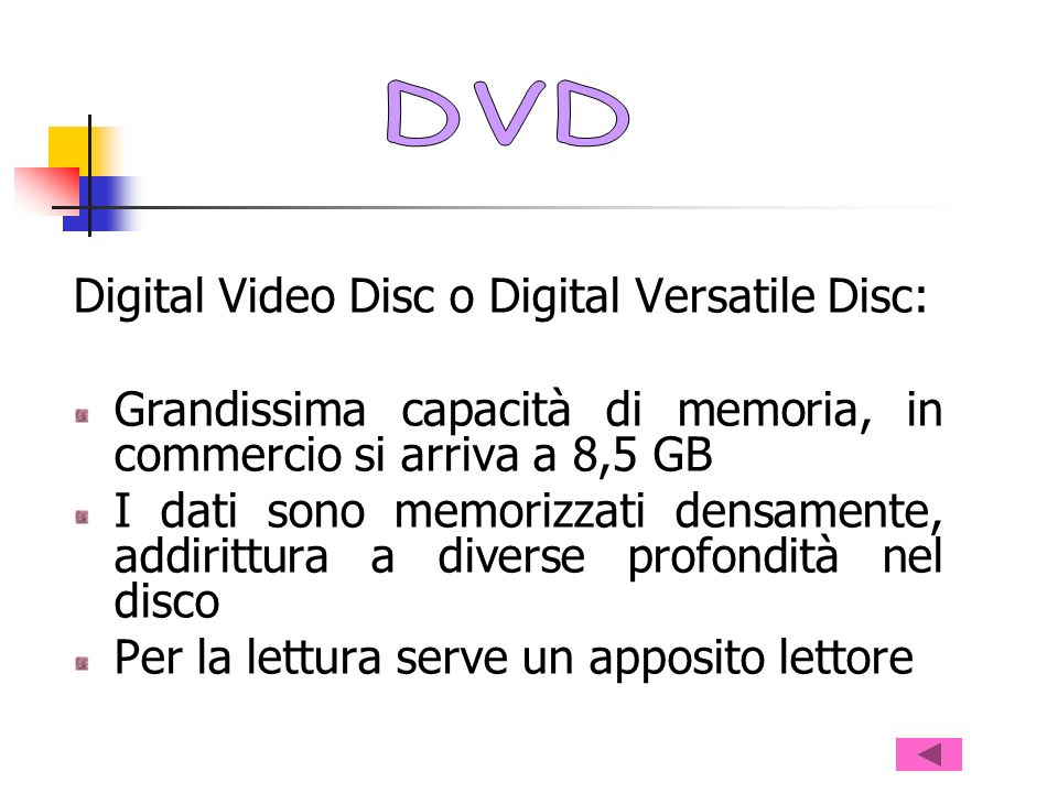 DVD Digital Video Disc o Digital Versatile Disc: Grandissima capacità di memoria, in commercio si arriva a 8,5 GB.