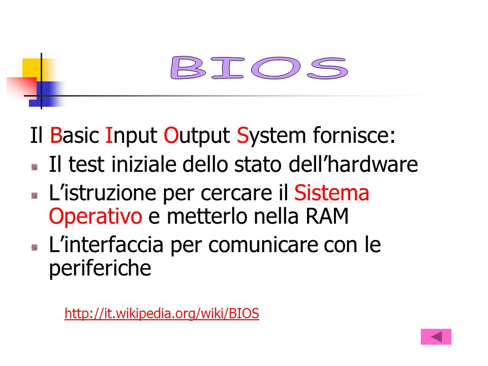 Il Basic Input Output System fornisce: