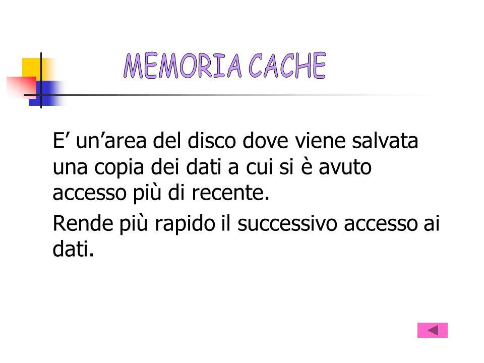 MEMORIA CACHE E' un'area del disco dove viene salvata una copia dei dati a cui si è avuto accesso più di recente.
