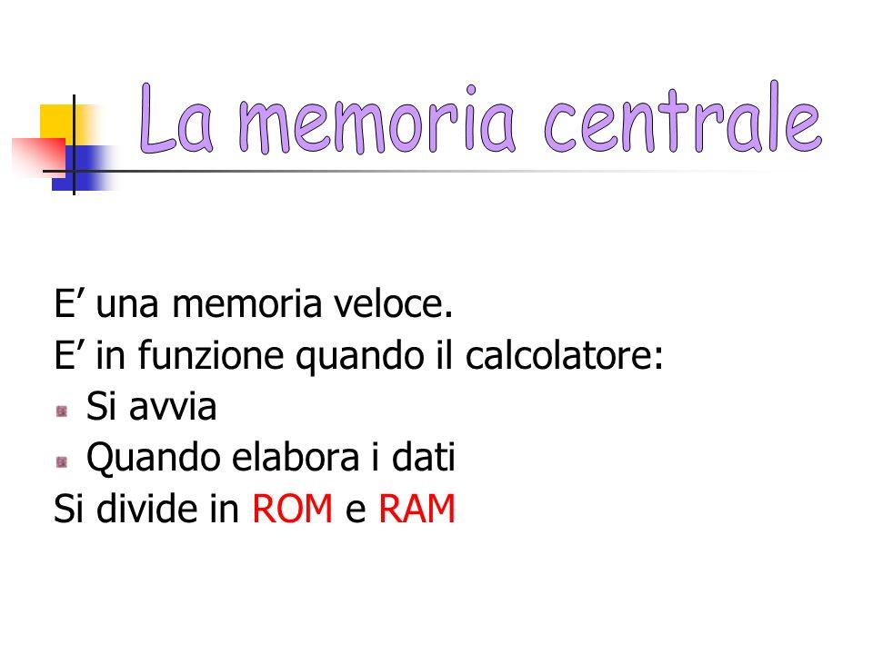 La memoria centrale E' una memoria veloce.