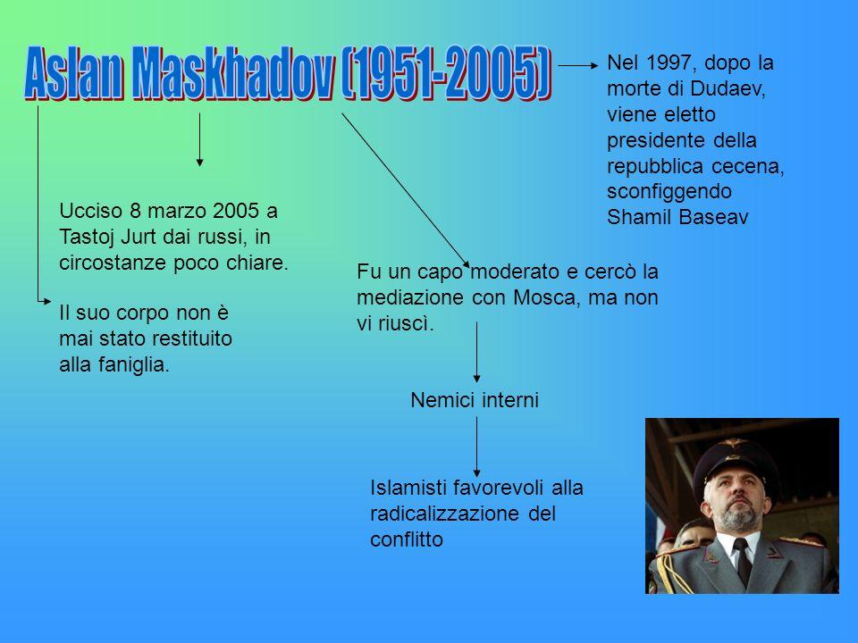 Aslan Maskhadov (1951-2005)Nel 1997, dopo la morte di Dudaev, viene eletto presidente della repubblica cecena, sconfiggendo Shamil Baseav.