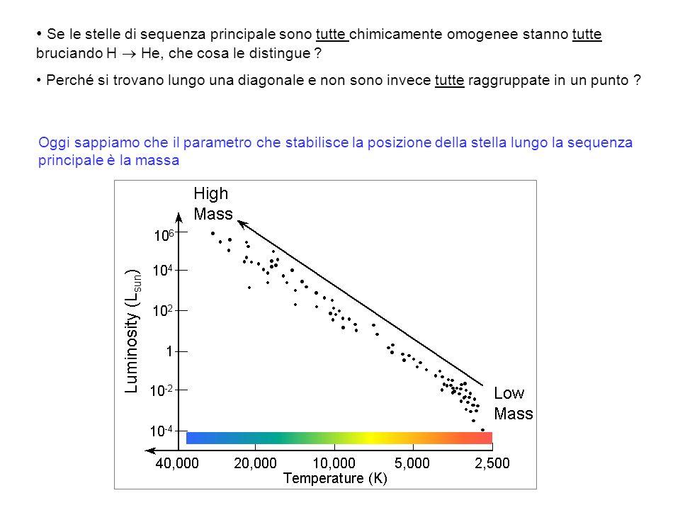 Se le stelle di sequenza principale sono tutte chimicamente omogenee stanno tutte bruciando H  He, che cosa le distingue