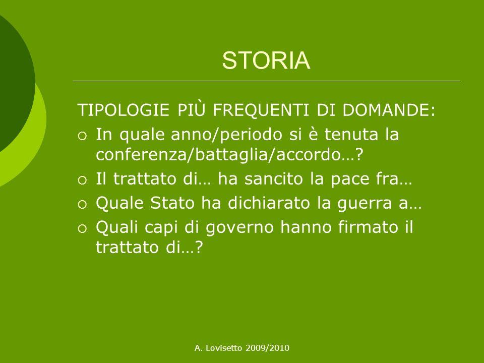 STORIA TIPOLOGIE PIÙ FREQUENTI DI DOMANDE: