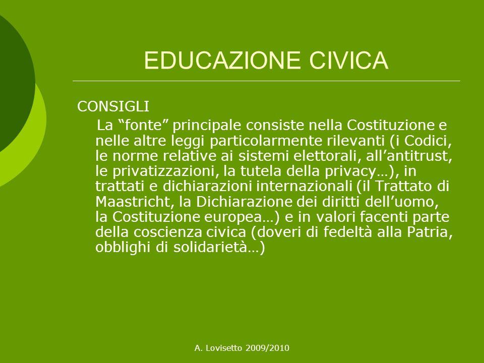 EDUCAZIONE CIVICA CONSIGLI