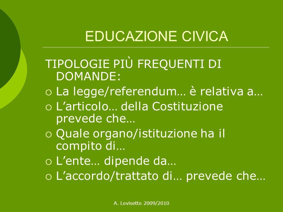 EDUCAZIONE CIVICA TIPOLOGIE PIÙ FREQUENTI DI DOMANDE: