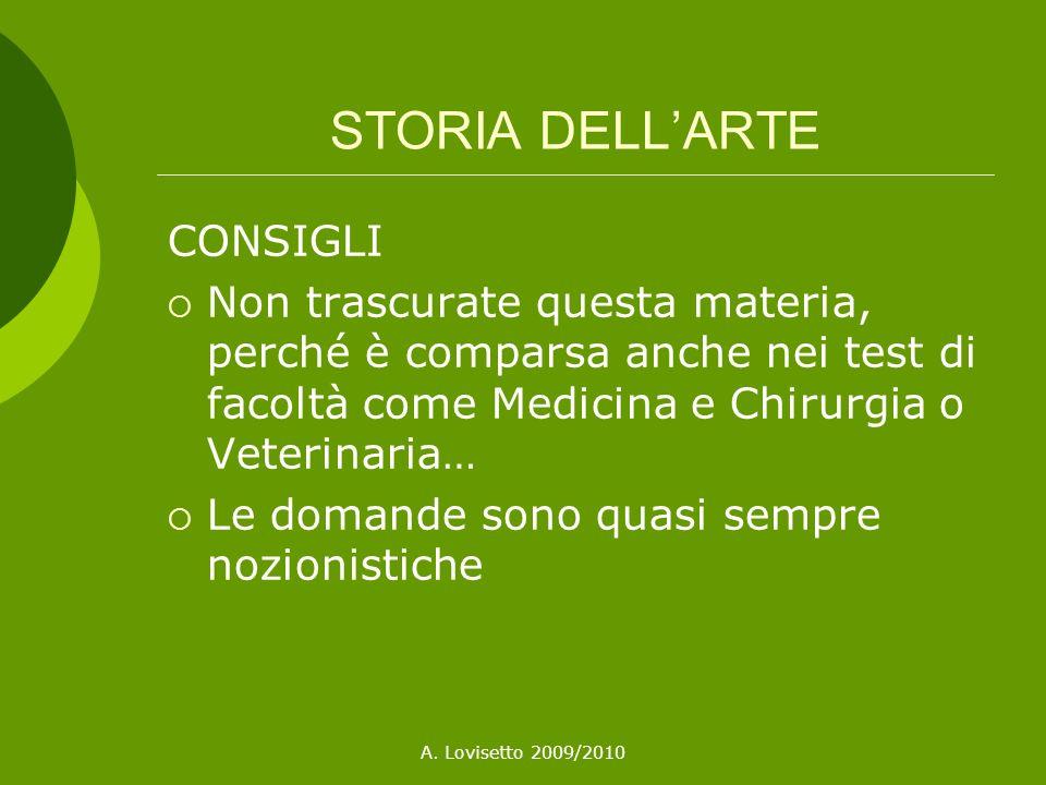 STORIA DELL'ARTE CONSIGLI
