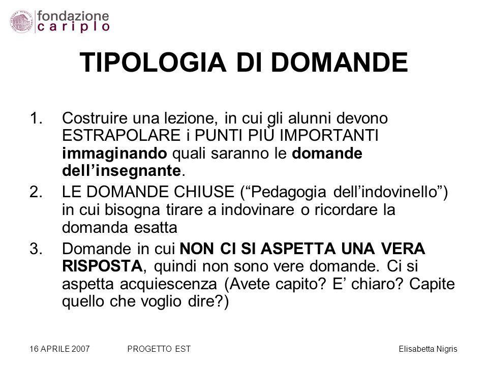 TIPOLOGIA DI DOMANDE