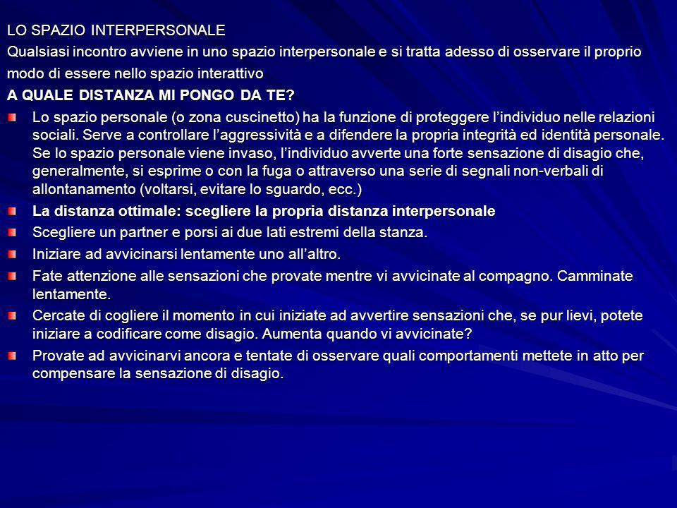 LO SPAZIO INTERPERSONALE