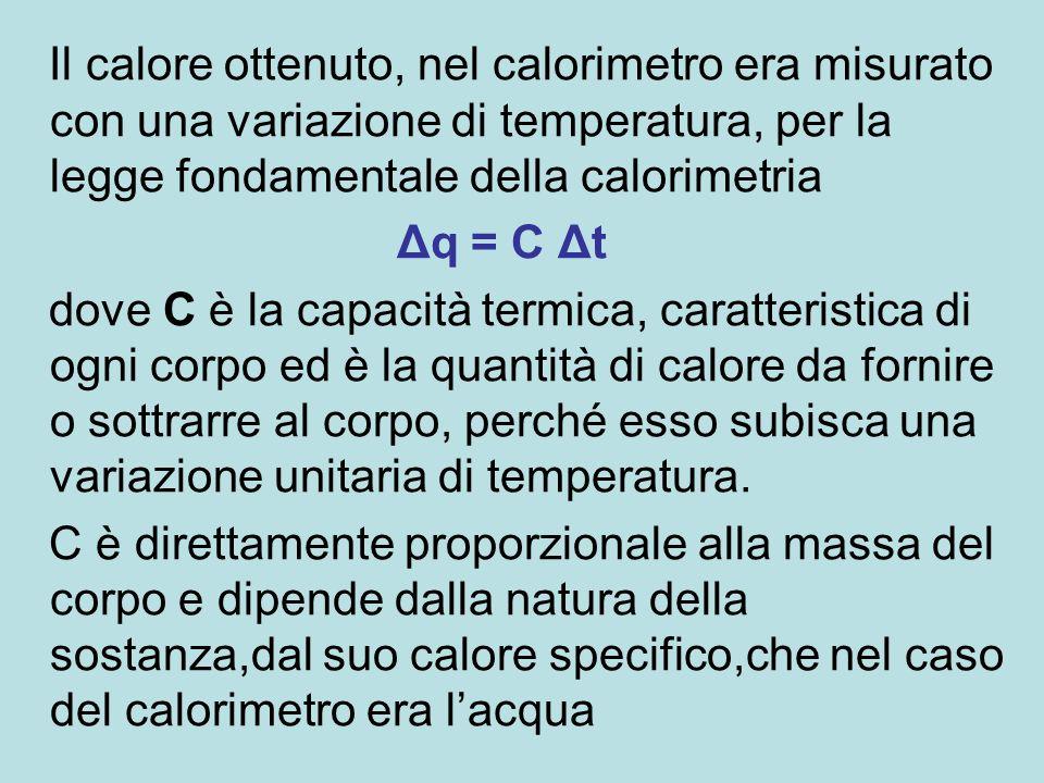 Il calore ottenuto, nel calorimetro era misurato con una variazione di temperatura, per la legge fondamentale della calorimetria