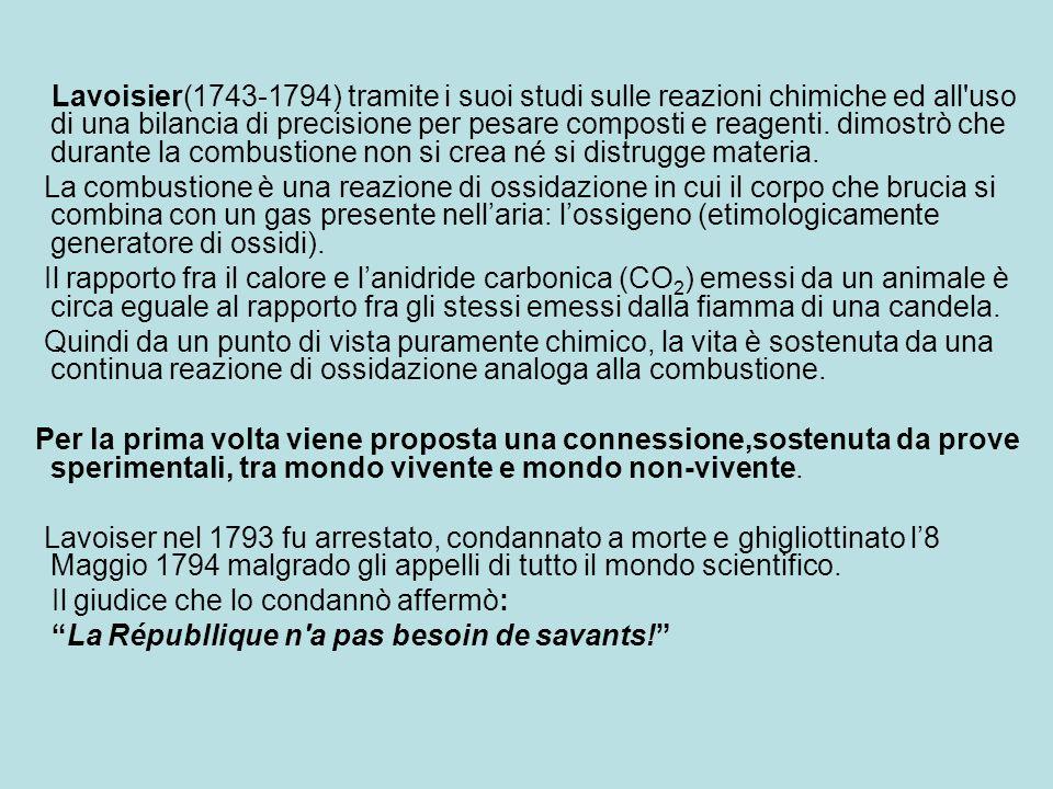Lavoisier(1743-1794) tramite i suoi studi sulle reazioni chimiche ed all uso di una bilancia di precisione per pesare composti e reagenti. dimostrò che durante la combustione non si crea né si distrugge materia.