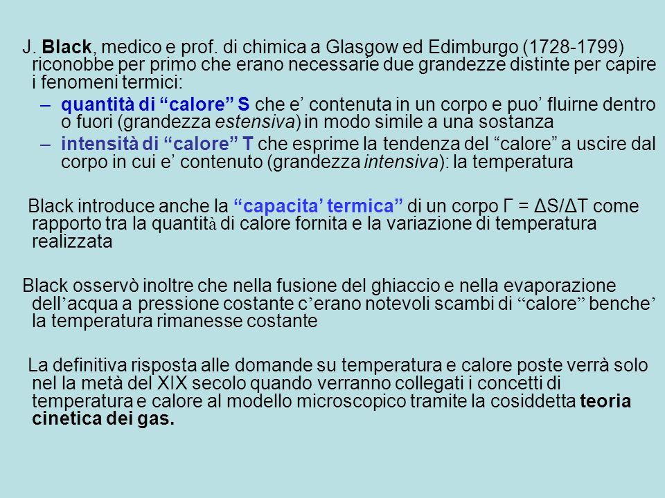 J. Black, medico e prof. di chimica a Glasgow ed Edimburgo (1728-1799) riconobbe per primo che erano necessarie due grandezze distinte per capire i fenomeni termici: