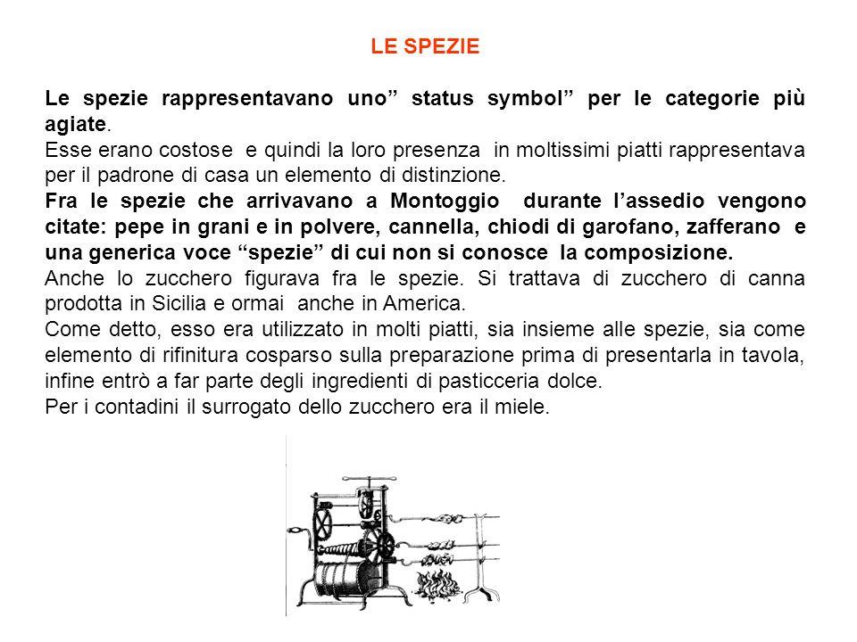 LE SPEZIE Le spezie rappresentavano uno status symbol per le categorie più agiate.
