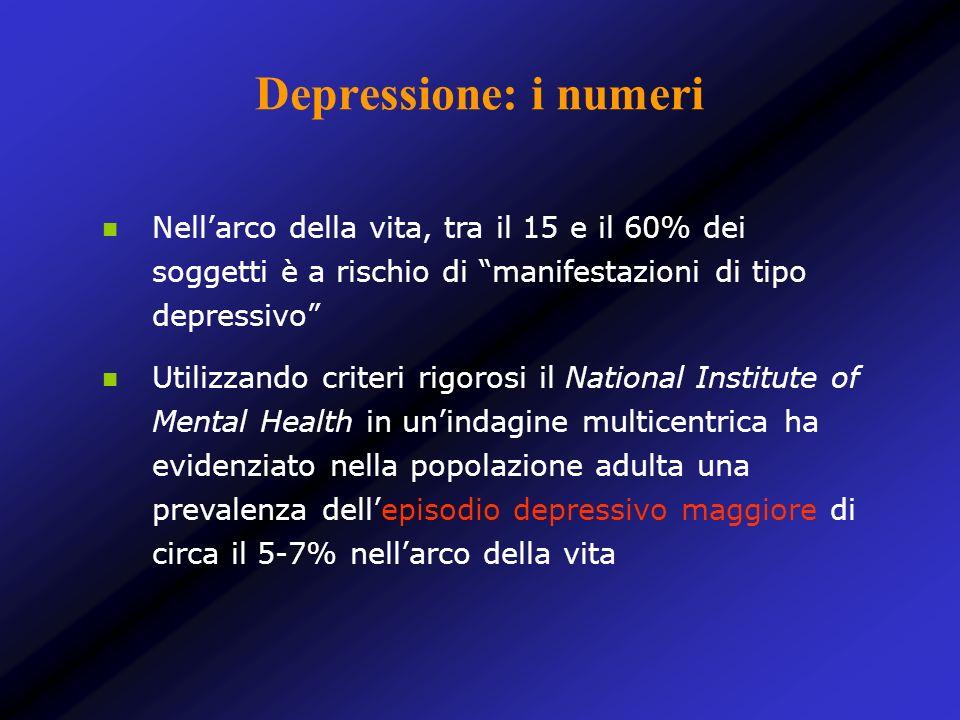 Depressione: i numeri Nell'arco della vita, tra il 15 e il 60% dei soggetti è a rischio di manifestazioni di tipo depressivo