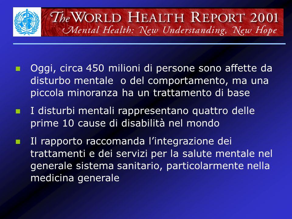 Oggi, circa 450 milioni di persone sono affette da disturbo mentale o del comportamento, ma una piccola minoranza ha un trattamento di base