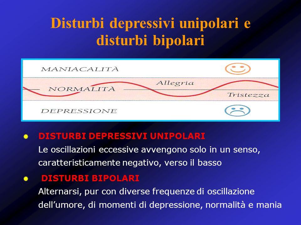 Disturbi depressivi unipolari e disturbi bipolari