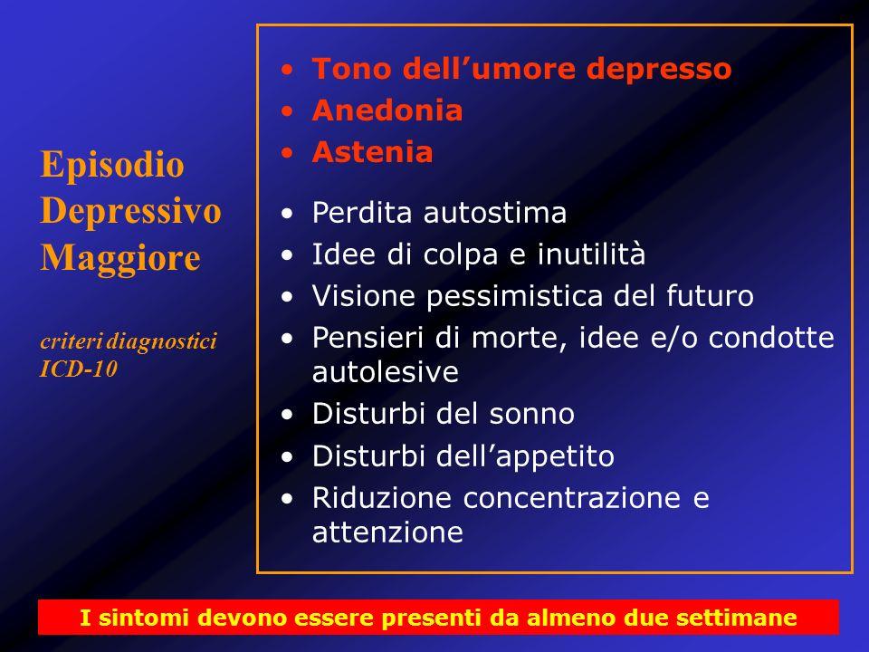 Episodio Depressivo Maggiore criteri diagnostici ICD-10