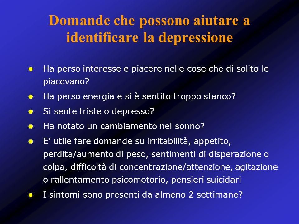 Domande che possono aiutare a identificare la depressione