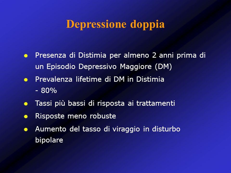 Depressione doppia Presenza di Distimia per almeno 2 anni prima di un Episodio Depressivo Maggiore (DM)
